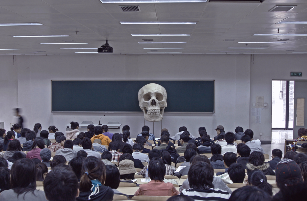 A big skull in a class room with first year students. China Central Academy of Fine Arts, Beijing, 2009.